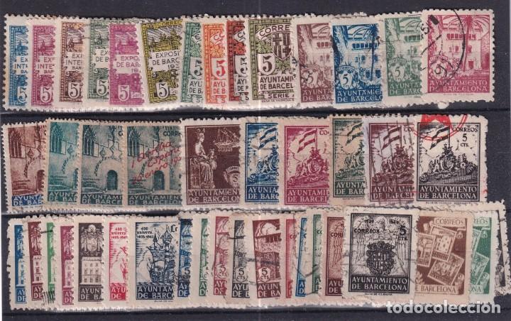 SELLOS ESPAÑA OFERTA AÑO 1939 BARCELONA FICHA LLENA DE SELLOS USADO (Sellos - España - Dependencias Postales - Beneficencia)