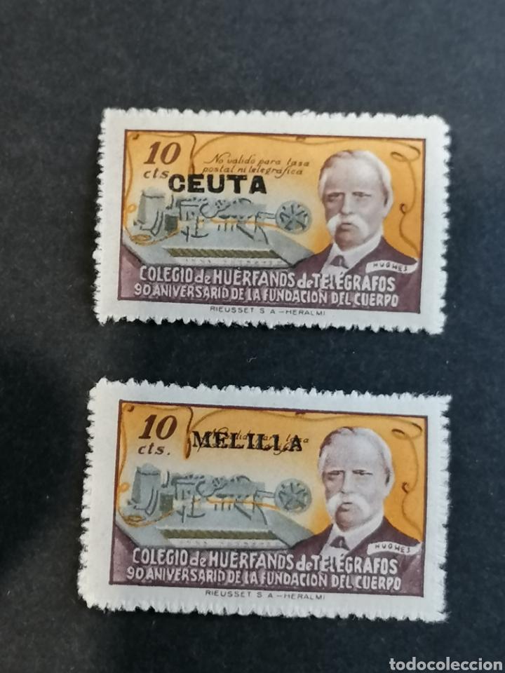 ESPAÑA SELLOS BENEFICIENCIA TELÉGRAFOS MELILLA CEUTA (Sellos - España - Dependencias Postales - Beneficencia)