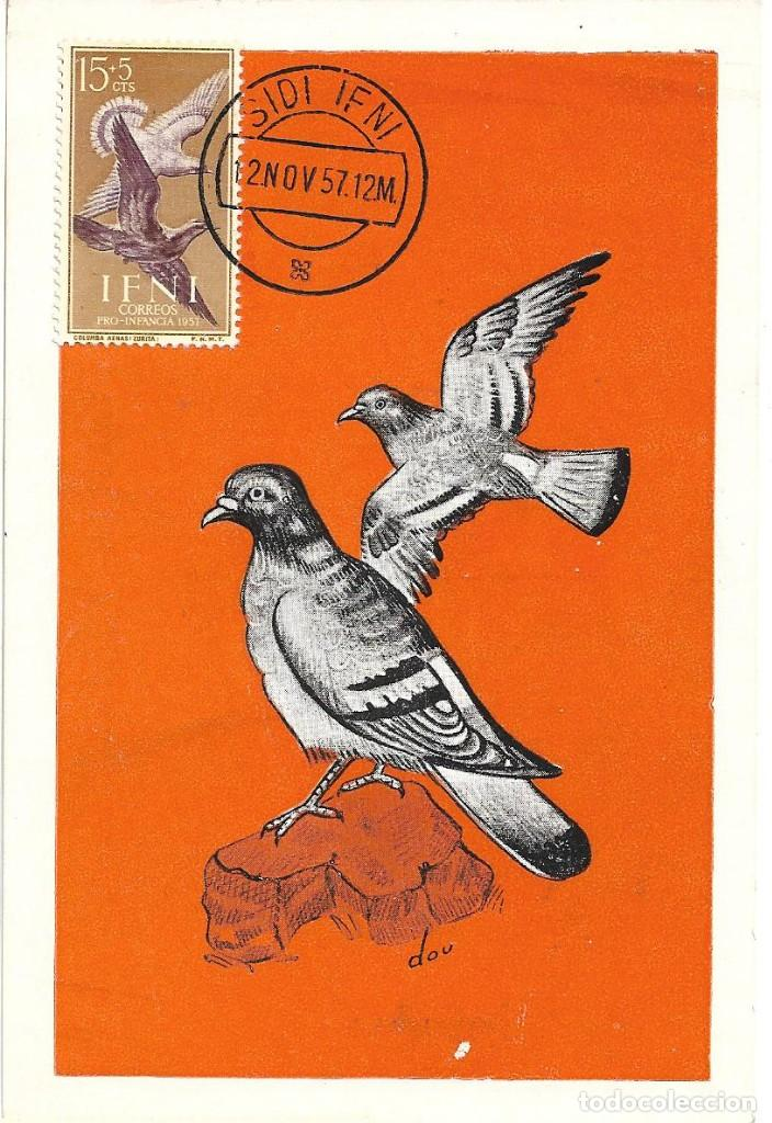 PALOMAS AVES FAUNA IFNI PRO INFANCIA 1957 (EDIFIL 136) EN BONITA Y RARA TARJETA MAXIMA. (Sellos - España - Dependencias Postales - Tarjetas Máximas)