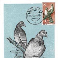 Sellos: PALOMAS AVES FAUNA IFNI PRO INFANCIA 1957 (EDIFIL 135) EN BONITA Y RARA TARJETA MAXIMA. MPM. Lote 287868148