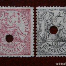 Sellos: ESPAÑA PRIMER CENTENARIO - TELEGRAFOS 1874 EDIFIL 151 Y 152 -.. Lote 291215633