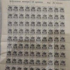 Sellos: ANTIGUO PLIEGO SERIE DE 100 SELLOS 50 CTS, MUTUALIDAD BENÉFICA DE CORREOS, MUTUALIDAD POSTAL, 1.947. Lote 292270803