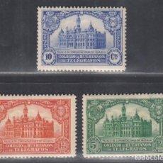Sellos: BENEFICENCIA, HUÉRFANOS DE TELÉGRAFOS, 1928 EDIFIL Nº 4 / 6 /*/ PALACIO DE COMUNICACIONES.. Lote 294967383