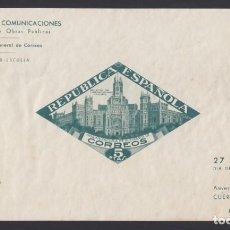 Sellos: BENEFICENCIA, 1937 EDIFIL Nº 18 /*/, PALACIO DE COMUNICACIONES DE MADRID. 5 P. VERDE, SIN DENTAR.. Lote 294968278