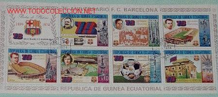 HOJA CON 8 SELLOS - 75 ANIVERSARIO FUTBOL CLUB BARCELONA - BODAS PLATINO 1899-1974 (Sellos - Temáticas - Deportes)
