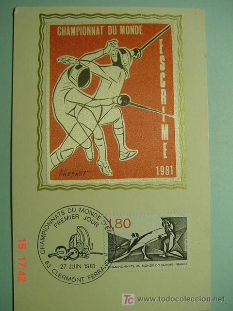 9144 FDC TARJETA PRIMER DIA EMISION ESGRIMA ESGRIME - FRANCIA FRANCE 1981 COSAS&CURIOSAS (Sellos - Temáticas - Deportes)