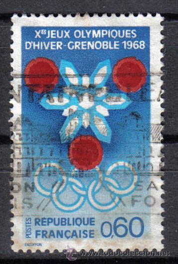 FRANCIA 1967 - 0,6 F YVERT 1520 - JUEGOS OLIMPICOS DE INVIERNO GRENOBLE 1968 - USADO (Sellos - Temáticas - Deportes)