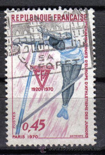FRANCIA 1970 - 0,45 F YVERT 1650 - IER CAMPEONATO EUROPEO DE ATLETISMO JUVENIL - USADO (Sellos - Temáticas - Deportes)