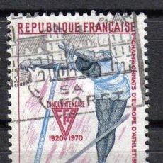 Sellos: FRANCIA 1970 - 0,45 F YVERT 1650 - IER CAMPEONATO EUROPEO DE ATLETISMO JUVENIL - USADO. Lote 8107063