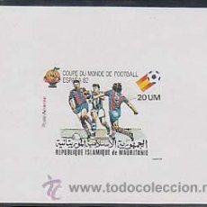 Sellos: MAURITANIA: COPA DEL MUNDO DE FUTBOL ESPAÑA 82, HOJA BLOQUE SIN DENTAR EN NUEVO. Lote 18701368