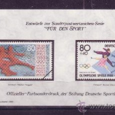 Sellos: BERLIN HB*** - AÑO 1988 - JUEGOS OLIMPICOS DE INVIERNO DE CALGARY - PATINAJE ARTISTICO. Lote 21893503
