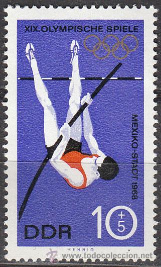 ALEMANIA ORIENTAL Nº 1101, SALTO DE PERTIGA, JUEGOS OLIMPICOS DE MEJICO, NUEVO (Sellos - Temáticas - Deportes)
