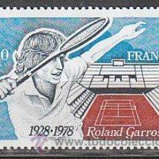 Sellos: FRANCIA IVERT Nº 2012, 50 ANIVERSARIO DEL ROLAND GARROS (TENIS), NUEVO. Lote 18688657