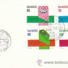 Sellos: SAN MARINO, COMPETICIONES DEPORTIVA: AUTOMOVILISMO, OLIMPIADAS, FUTBOL Y TENIS, F. D. C. DE 13-5-89. Lote 21800834