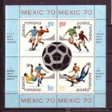 Sellos: RUMANIA HB 76*** - AÑO 1970- CAMPEONATO DEL MUNDO DE FUTBOL DE MEXICO . Lote 21918121