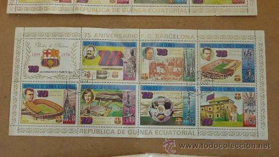 Sellos: Lote de 18 hojas sellos del 75 aniversario Futbol Club Barcelona. Barça. FCB. Originales. - Foto 2 - 31074101