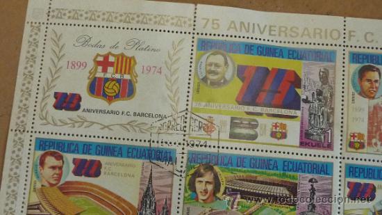 Sellos: Lote de 18 hojas sellos del 75 aniversario Futbol Club Barcelona. Barça. FCB. Originales. - Foto 3 - 31074101