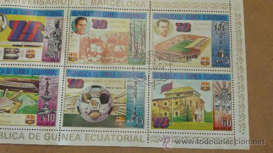Sellos: Lote de 18 hojas sellos del 75 aniversario Futbol Club Barcelona. Barça. FCB. Originales. - Foto 4 - 31074101