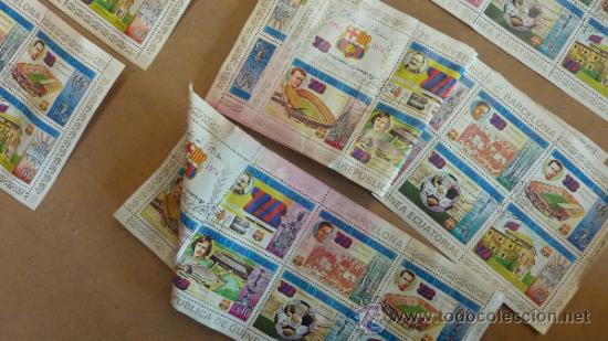 Sellos: Lote de 18 hojas sellos del 75 aniversario Futbol Club Barcelona. Barça. FCB. Originales. - Foto 5 - 31074101
