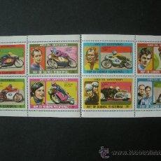 Sellos: GUINEA ECUATORIAL 1976 IVERT 88 *** FAMOSOS DEL MOTOCICLISMO - DEPORTES. Lote 221689775