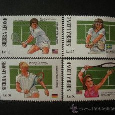 Sellos: SIERRA LEONA 1987 IVERT 831/4 *** GANADORES DEL TORNEO DE WIMBLEDON - TENIS - DEPORTES. Lote 31988301