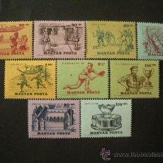 Sellos: HUNGRIA 1965 IVERT 1734/42 *** HISTORIA DEL TENIS - DEPORTES. Lote 32903561