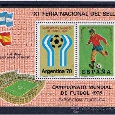 Francobolli: HOJITA RECUERDO. XI FERIA NACIONAL DEL SELLO. CAMPEONATO MUNDIAL DE FÚTBOL ARGENTINA 1978 NUEVA**. Lote 33664078