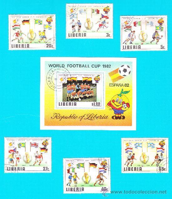 COLECCION COPA MUNDIAL DE FUTBOL ESPAÑA 82, LIBERIA WORLD FOOTBALL CUP 1982, SERIE COMPLETA (Sellos - Temáticas - Deportes)