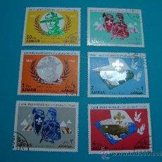 Sellos: COLECCION 12º JAMBOREE SCOUT MUNDIAL 1967 IDAHO USA BOYSCOUTS, AJMAN SERIE COMPLETA. Lote 34453067