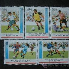 Sellos: CUBA 1998 IVERT 3692/6 *** CAMPEONATO DEL MUNDO DE FUTBOL EN FRANCIA - DEPORTES. Lote 35331780