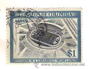 -47058 SELLO CUBA ESTADIO DE FUTBOL A. GIRARDOT-MEDELLIN, AEREO MATASELLADO (Sellos - Temáticas - Deportes)