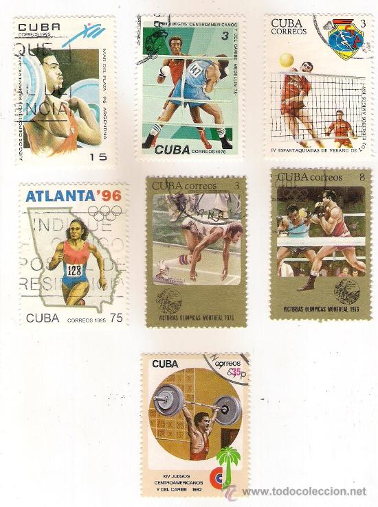 -47059 7 SELLOS CUBA, DEPORTES, MATASELLADOS, FUTBOL, BOXEO, ATLETISMO,.. (Sellos - Temáticas - Deportes)
