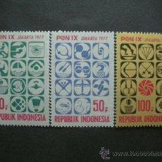 Sellos: INDONESIA 1977 IVERT 797/9 *** 9ª SEMANA DEPORTIVA NACIONAL. Lote 36720627