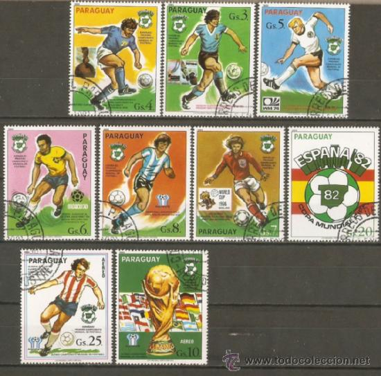 PARAGUAY COPA MUNDIAL DE FUTBOL ESPAÑA 82 YVERT NUM. 1814/1820 Y A855/856 SERIE COMPLETA MATASELLADA (Sellos - Temáticas - Deportes)
