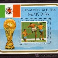 Sellos: CUBA HB 87** - AÑO 1985 - CAMPEONATO DEL MUNDO DE FÚTBOL DE MEXICO. Lote 37989277