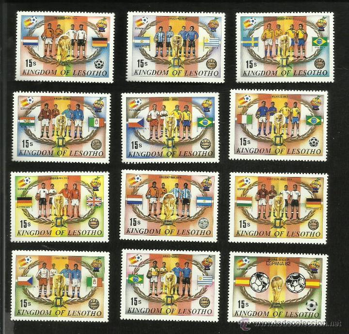 LESOTHO 12 SELLOS CONMEMORATIVOS DEL MUNDIAL ESPAÑA 1982- HISTORIA DE LAS FINALES DE LOS MUNDIALES (Sellos - Temáticas - Deportes)