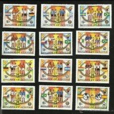 Sellos: LESOTHO 12 SELLOS CONMEMORATIVOS DEL MUNDIAL ESPAÑA 1982- HISTORIA DE LAS FINALES DE LOS MUNDIALES. Lote 40177677