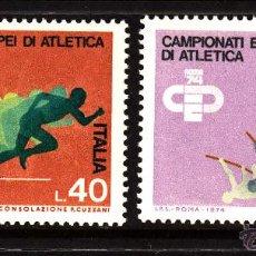 Sellos: ITALIA 1180/81** - AÑO 1974 - CAMPEONATO DE EUROPA DE ATLETISMO. Lote 207147473