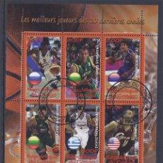 Sellos: REP. CONGO - HOJA BLOQUE DE SELLOS BASKETBALL BALONCESTO EUROLIGA- BODIROGA- PARKER- PAPALOUKAS. Lote 40523733
