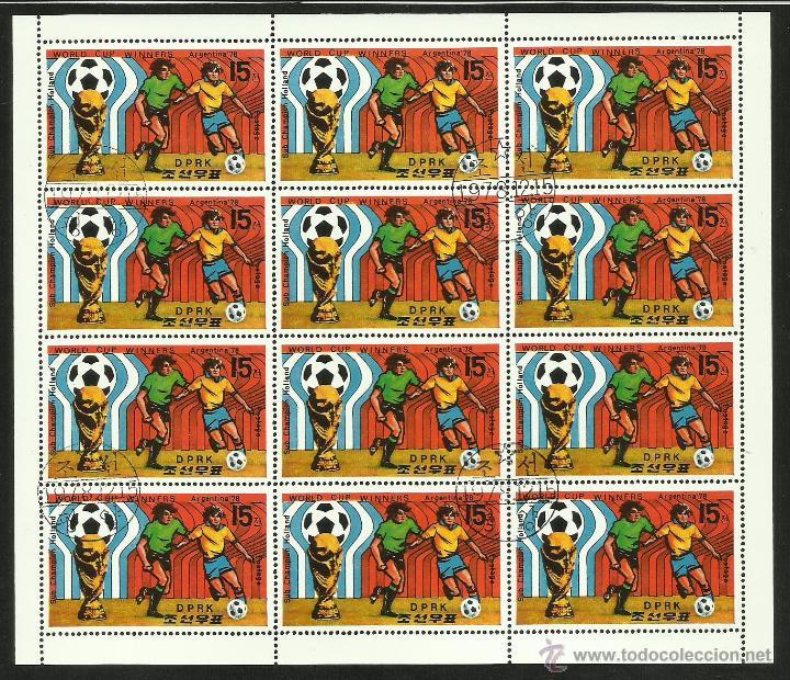 COREA 1978 HOJA BLOQUE DE SELLOS HOLANDA SUBCAMPEON DEL MUNDIAL DE FUTBOL ARGENTINA 78 - FIFA (Sellos - Temáticas - Deportes)