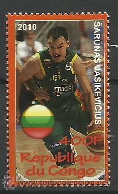 CONGO 2010 SELLO DEL JUGADOR DE BALONCESTO SARUNAS JASIKEVICIUS - BASKETBALL- EUROLIGA (Sellos - Temáticas - Deportes)
