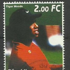 Sellos: CONGO 2001 SELLOS DEL CAMPEON DE GOLF TIGER WOODS. Lote 42493427