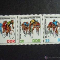 Selos: ALEMANIA DDR Nº YVERT 1894A*** AÑO 1977. CICLISMO. 30 CARRERA INTERNACIONAL DE LA PAZ. Lote 42948409