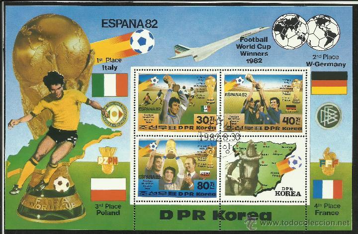HOJA BLOQUE CONMEMORATIVO MUNDIAL DE FUTBOL ESPAÑA 1982- PODIO Y SEDES- FIFA (Sellos - Temáticas - Deportes)