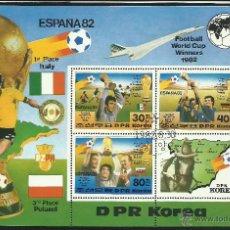 Sellos: HOJA BLOQUE CONMEMORATIVO MUNDIAL DE FUTBOL ESPAÑA 1982- PODIO Y SEDES- FIFA. Lote 43840048