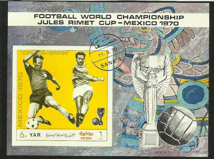 YEMEN 1979 HOJA BLOQUE TEMATICA DEPORTES- FUTBOL- COPA MUNDIAL JULES RIMET- MEXICO 70- FIFA (Sellos - Temáticas - Deportes)