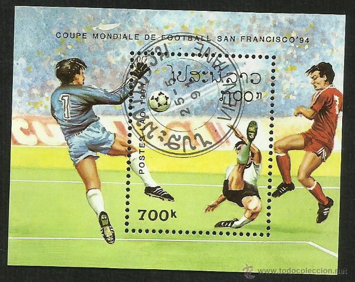 LAO 1991 HOJA BLOQUE TEMATICA DEPORTES- FUTBOL- COPA MUNDIAL EEUU 94- FIFA (Sellos - Temáticas - Deportes)