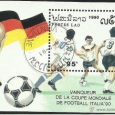 Sellos: LAO 1990 HOJA BLOQUE TEMATICA DEPORTES- FUTBOL- COPA MUNDIAL ITALIA 90- ALEMANIA CAMPEON- FIFA. Lote 44426725