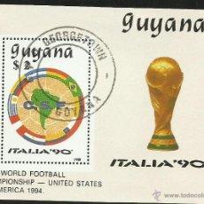 Sellos: GUYANA 1988 HOJA BLOQUE TEMATICA DEPORTES- FUTBOL- COPA MUNDIAL ITALIA 90- EEUU 94- CSF- FIFA. Lote 44426740
