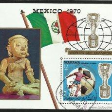Sellos: MANAMA 1970 HB DEPORTES- MUNDIAL DE FUTBOL MEXICO 70- FIFA - COPA JULES RIMET. Lote 44710164